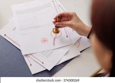 Notary notarize testament at notary public office. Notary public working accessories