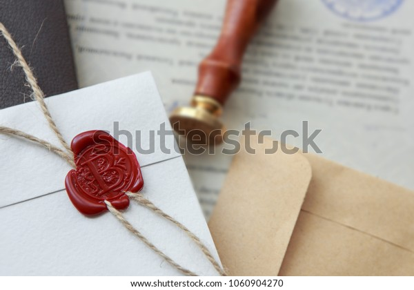Notary Public Wax Stamp Seal On Royalty Free Stock Image