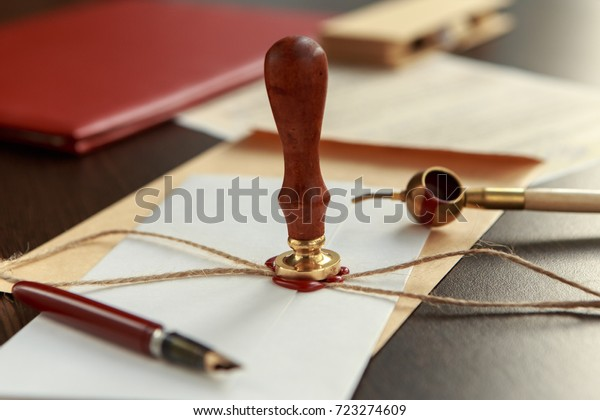 Notary Public Wax Stamp Seal On Stock Photo Edit Now 723274609