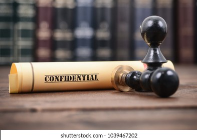 Notary seals , Notarized document concept, Confidential files , Confidential type of documents.