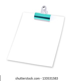 Note pad with paperclip isolated on white background