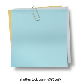 note paper clip blank blue isolated