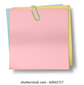 note paper clip blank pink isolated