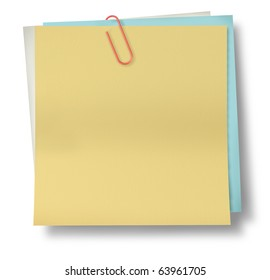 note paper clip blank yellow isolated