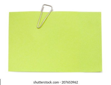 Note with paper clip isolated clipping path