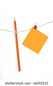 note paper and pencil on the rope