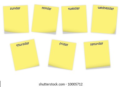 note papers with days of week