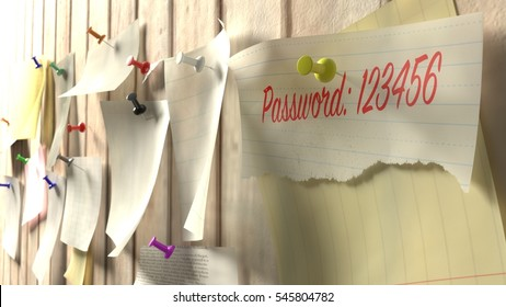 Note with password 123456 on a wooden kitchen wall with pins cybersecurity 3D illustration