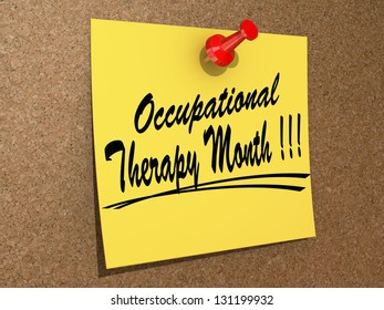 """A note pinned to a cork board with the text """"Occupational Therapy Month"""""""