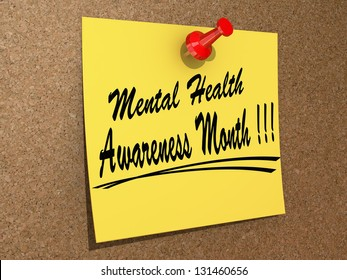 """A note pinned to a cork board with the text """"Mental Health Awareness Month"""""""