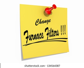 """A note pinned to a cork board with the text """"Change Furnace Filters"""""""