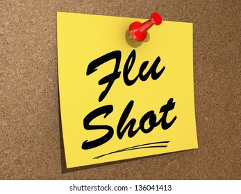 A note pinned to a cork board with the text Flu Shot.