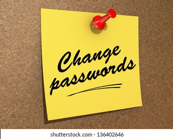 A note pinned to a cork board with the text Change Passwords.
