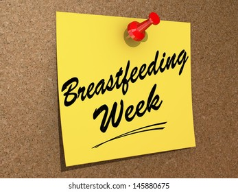 """A note pinned to a cork board with the text """"Breastfeeding Week""""."""