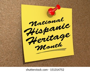 """A note pinned to a cork board with the text """"National Hispanic Heritage Month""""."""