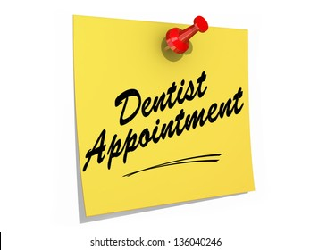 A note pinned to a white background with the text Dentist Appointment.