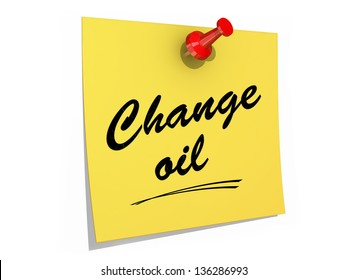 A note pinned to a white background with the text Change Oil.