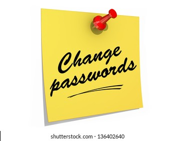 A note pinned to a white background with the text Change Passwords.