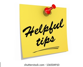 A note pinned to a white background with the text Helpful Tips.