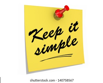 A note pinned to a white background with the text Keep It Simple.