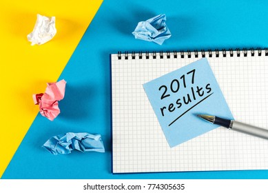 Note reminder to prepare an annual report - 2017 results. New year 2018 - Time to summarize and plan goals for the next year. Business background