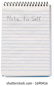 "A ""Note to Self"" spiral bound notepad"