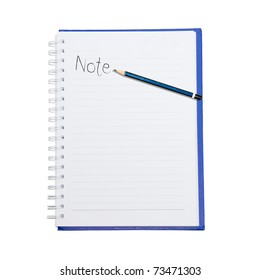 note word with pencil on page book
