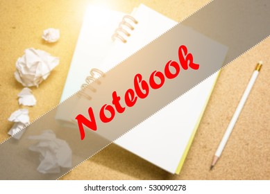 Notebook  - Abstract hand writing word to represent the meaning of word as concept. The word Notebook is a part of Action Vocabulary Words in stock photo.
