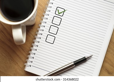 Notebook with blank checklist