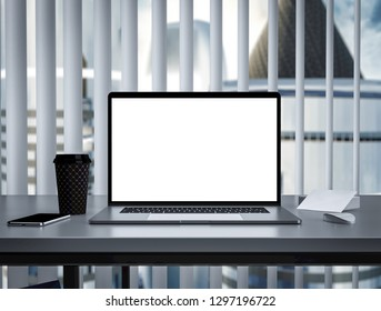 Notebook with blank screen on table in skyscraper office interior building - mockup, template