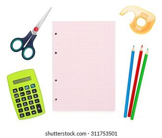 Notebook, calculator, scotch tape, pencils and scissors for office