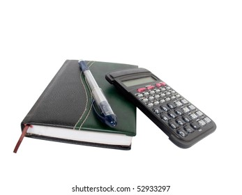 Notebook,  calculator and writing handle on a white background