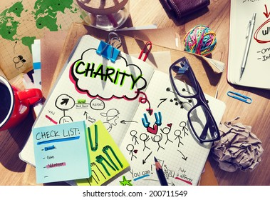 Notebook with Charity Concepts