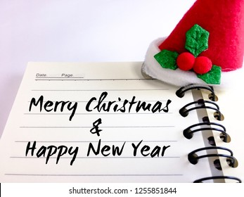 Notebook with Christmas snow cap, MERRY CHRISTMAS & HAPPY NEW YEAR