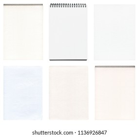 Notebook  collection isolated on white background. White notebook set.  Notebook collection isolated.
