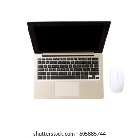notebook computer isolated on a white background and have clipping paths to easy deployment.