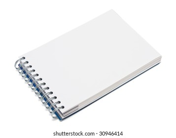 Notebook with empty space for writing isolated on white