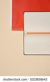 notebook, folder on a light background, education