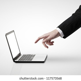 notebook and hand on a white background