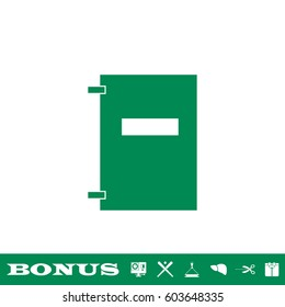 Notebook icon flat. Simple green pictogram on white background. Illustration symbol and bonus button