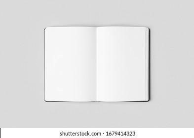 Notebook inside mockup on a grey background.