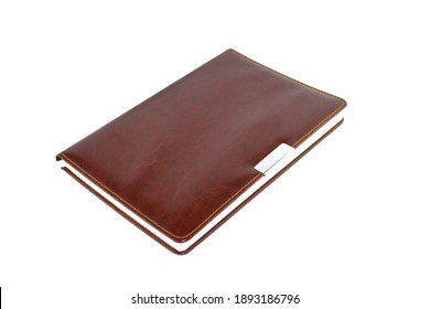 Notebook in a leather cover. It is isolated on a white background