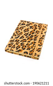 Notebook leopard cover isolated on white background
