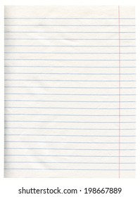 Notebook Line White Paper With Margin Isolated