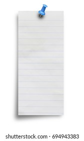 Notebook lined paper sheet with pin isolated on white background with clipping path.
