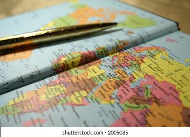 notebook map & pen