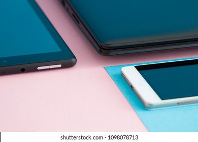 notebook, mobile phone and digital tablet