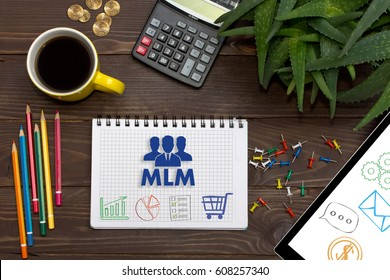 Notebook with a notes MLM on the office table with tools. Concept with elements of infographics. The concept of multi-level marketing.