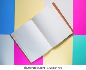 Notebook on a color background, Notebook on color paper