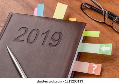 Notebook on a desk 2019